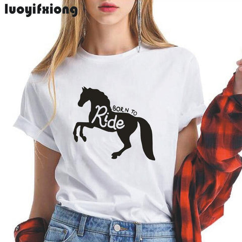 Born To Ride a Horse  Women Tshirt - Xshirt Your Motivation