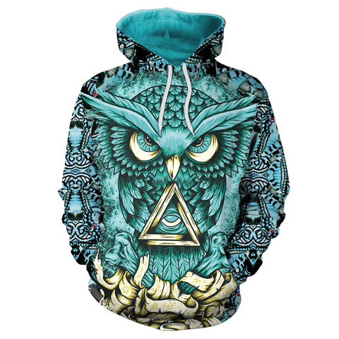 Illuminati Women Hoodie Blue Owl 3D - Xshirt Your Motivation