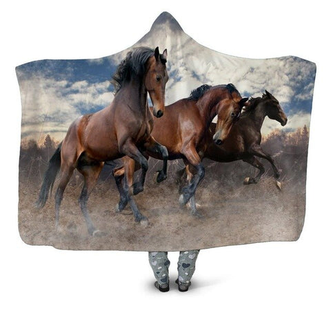 The Horses Best Friends Hooded Blanket