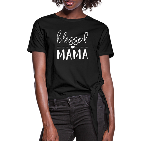 Blessed Mama Women's Knotted T-Shirt - black