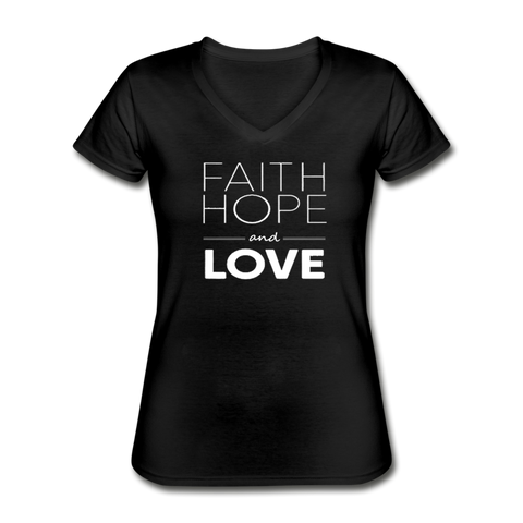 Faith Hope and Love Women's V-Neck T-Shirt - black