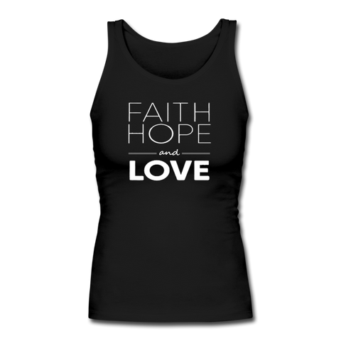 Faith Hope And Love Women's Longer Length Fitted Tank - black