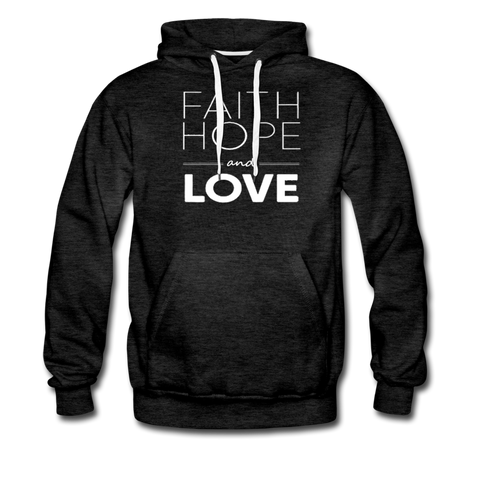 Faith Hope and Love Men's Premium Hoodie - charcoal gray