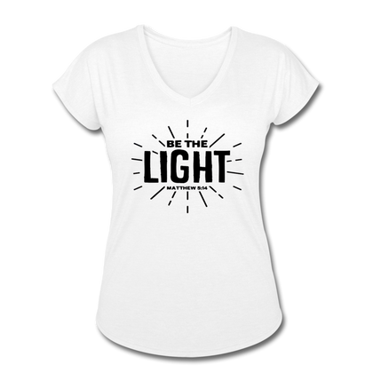 Be the Light Women's Tri-Blend V-Neck T-Shirt - white