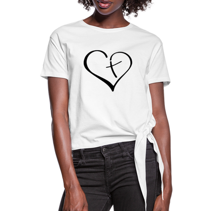 Heart Cross Women's Knotted T-Shirt - white