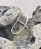 Hammered oval ring