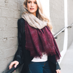 Burgundy & Ivory Ombre Winter Long Fringe Scarf