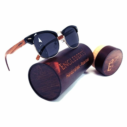 Real Walnut Wood Club Style Sunglasses, Polarized, Handcrafted