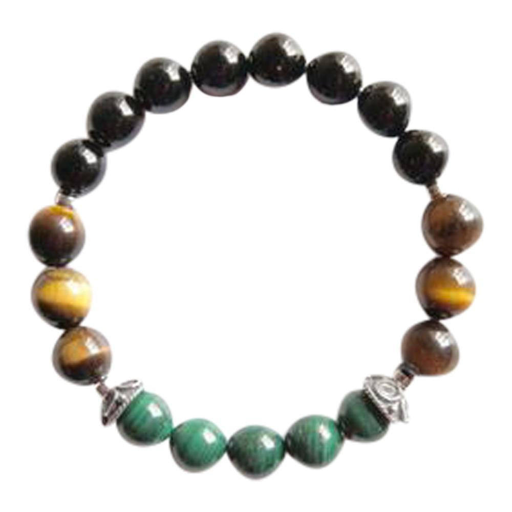Black Onyx, Malachite & Tiger's Eye Sterling Silver Bracelet
