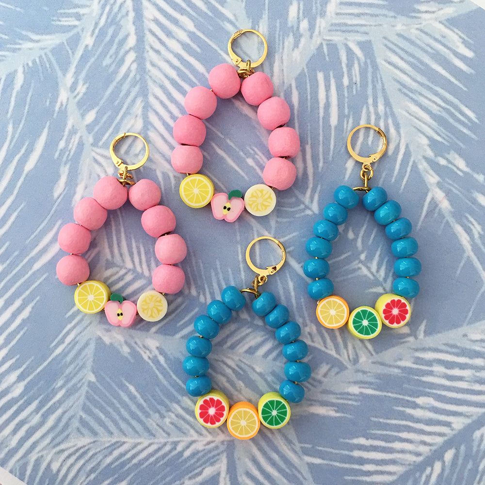 Juicy Fruit Earrings - Blue / Pink