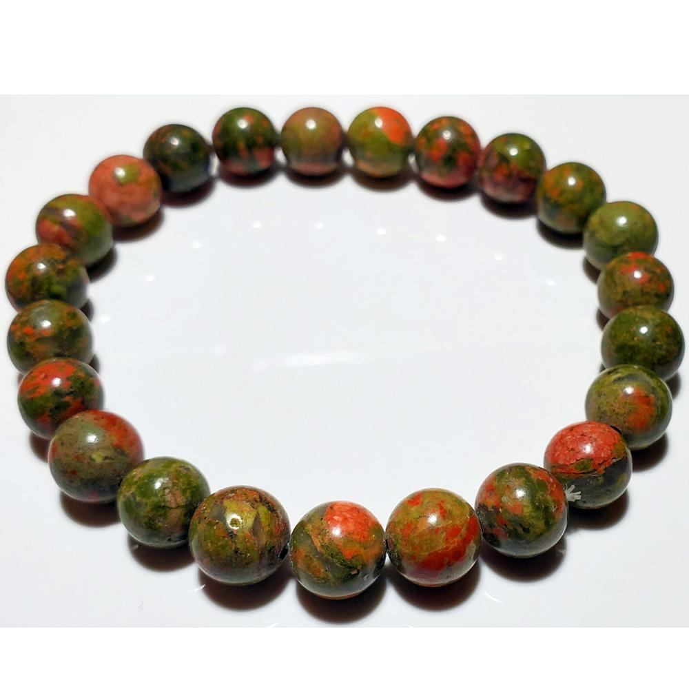 8mm Unakite Beaded Elastic Stretch Bracelet