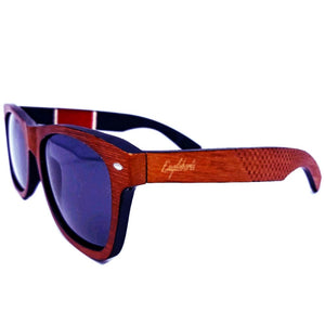 Red Stripe Two Tone Sunglasses Engraved and Polarized With Case