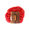 Red-Chandane Bracelet with Wood Clasp