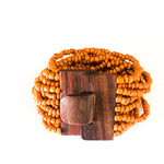 Orange-Chandana Bracelet with Wood Clasp