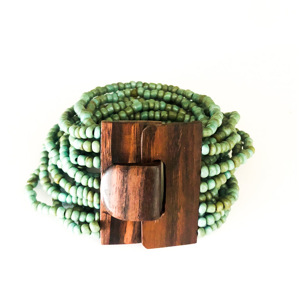 Turquoise-Chandana Bracelet with wood Clasp