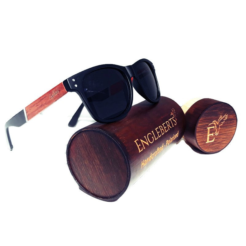 Cherry Wood and Acetate Polarized Sunglasses With Case