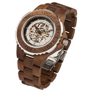 Men's Genuine Automatic Walnut Wooden Watches No Battery Needed