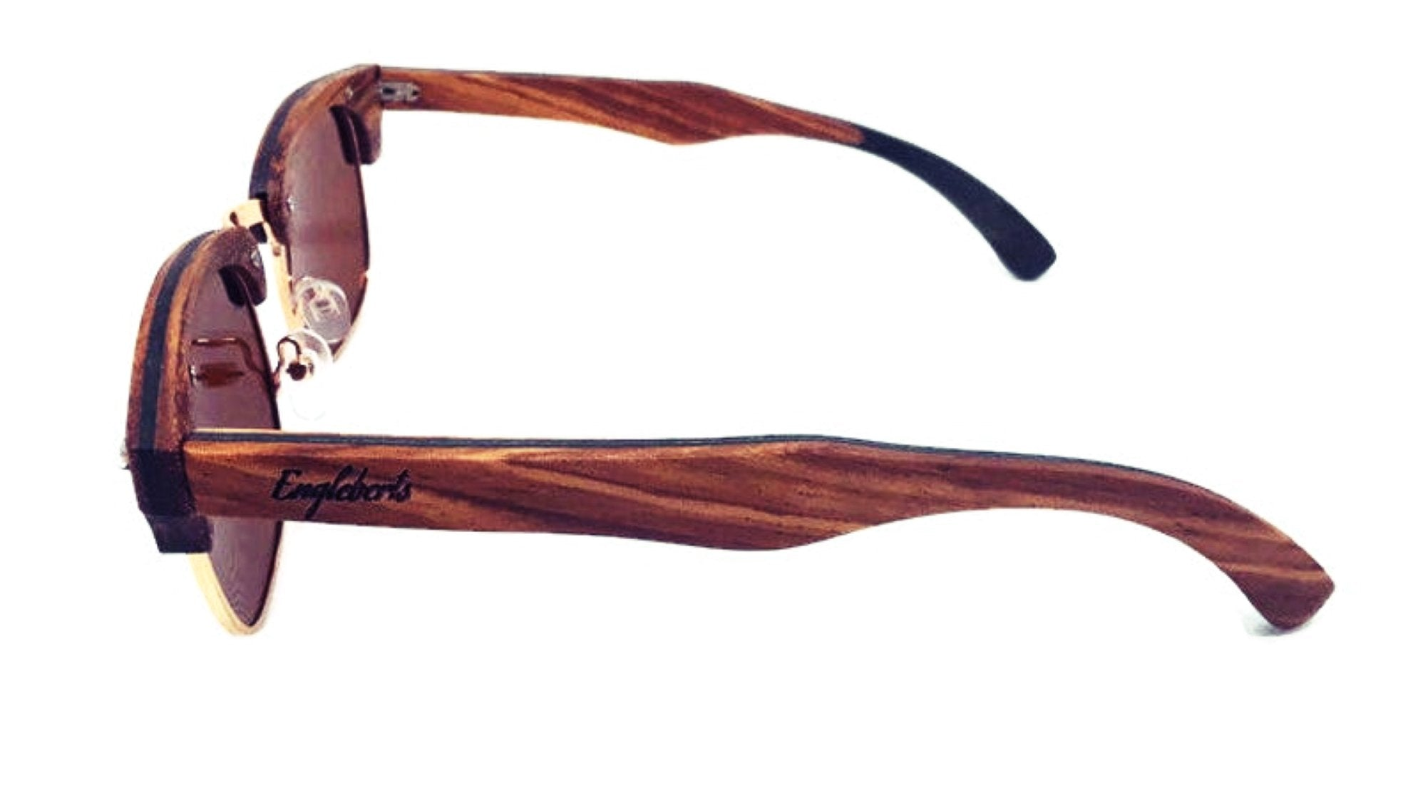 Real Ebony and ZebraWood Sunglasses With Bamboo Case, Tea Colored