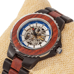 Men's Genuine Automatic Rose Ebony Wooden Watche