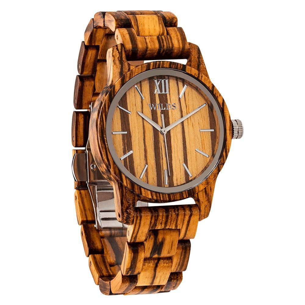 Men's Handmade Zebra Wooden Timepiece - Elegant and Classy Natural