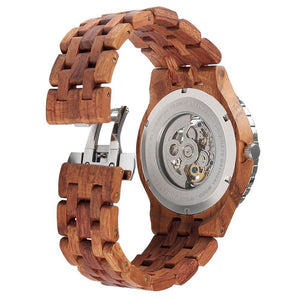 Men's Premium Self-Winding Transparent Body Kosso Wood Watch