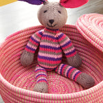 Kenana Knitters Pink Striped Cotton Bunny Rabbit