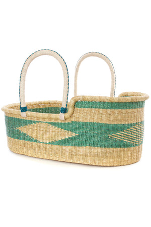 Ghanaian Moses Basket with Leather Handles