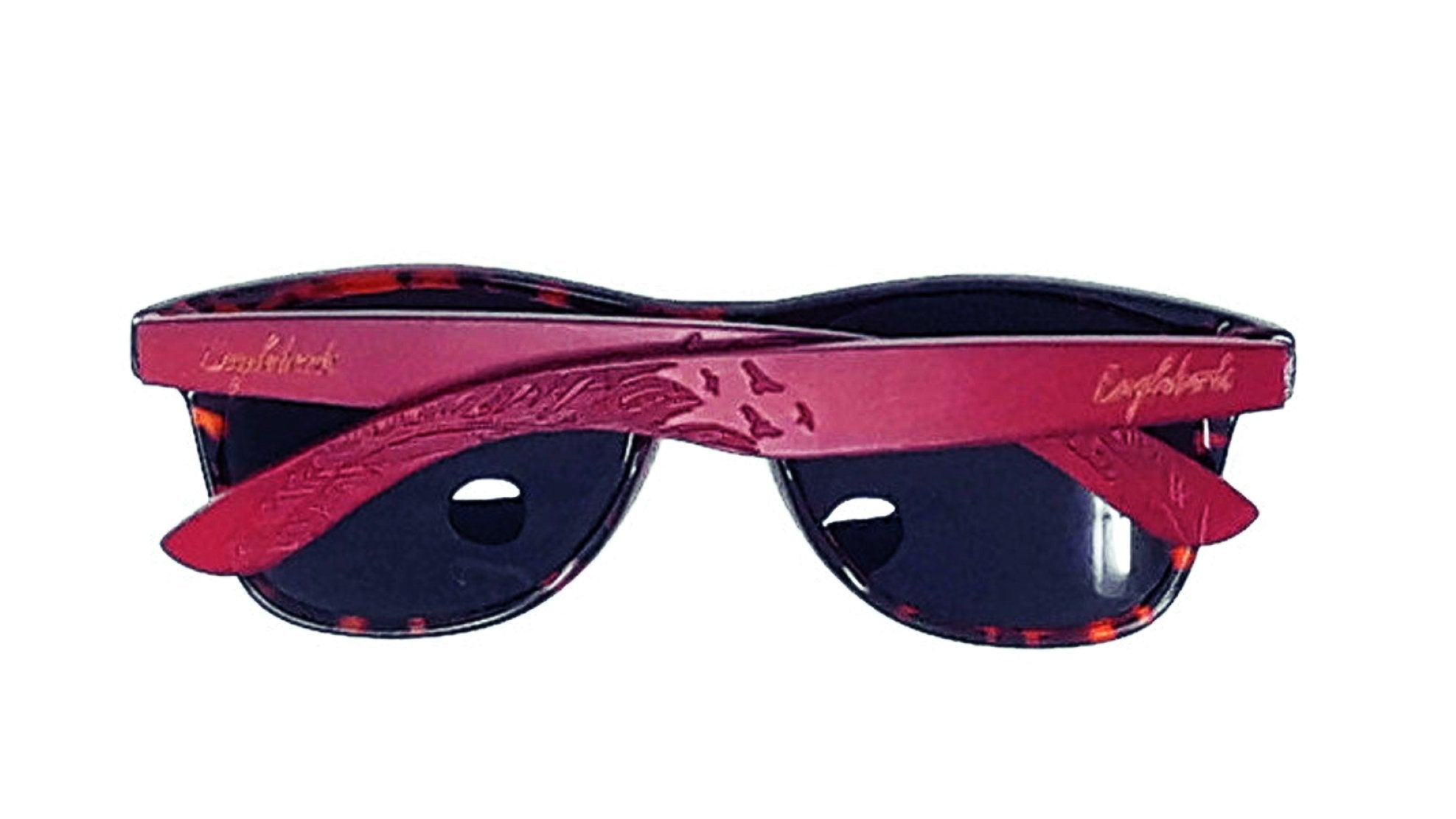 Red Bamboo Tortoise Framed Sunglasses With Wood Case, Polarized,