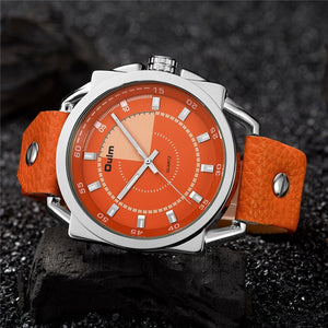 Oulm Orange Men's Watch