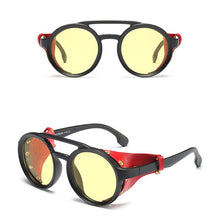 Load image into Gallery viewer, KEITHION Classic Round Leather Steampunk Sunglasses