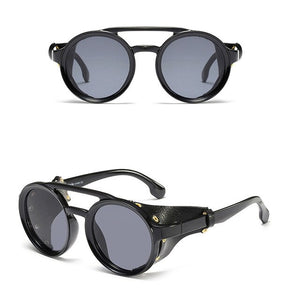 KEITHION Classic Round Leather Steampunk Sunglasses