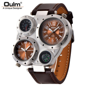 Oulm  Decorative Thermometer/Compass Wristwatch