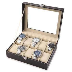 10 Slot Leather Watch Storage Box