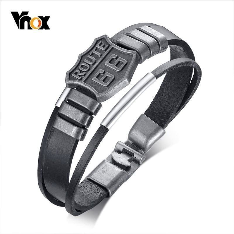 Vnox US Route 66 Real Leather Bracelet