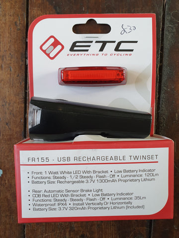 ETC FR115 - USB Rechargeable Twinset Lights - Happy Days Cycles