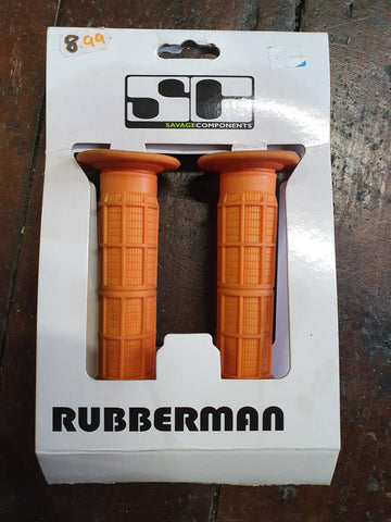 Savage Rubberman Bmx Grips - Orange 115mm - Happy Days Cycles