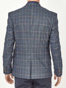 Axford Checked Blazer Navy Blazer - Dapper Rogue