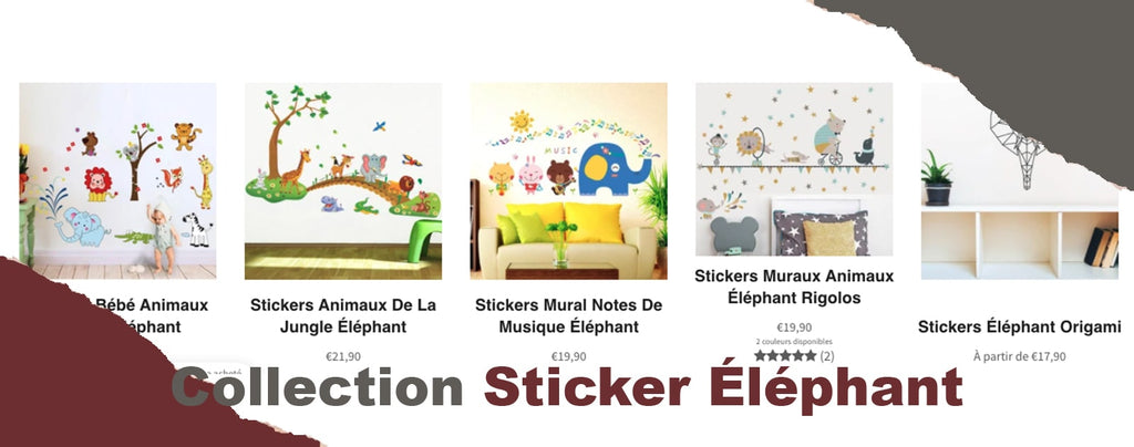 collection de stickers éléphants