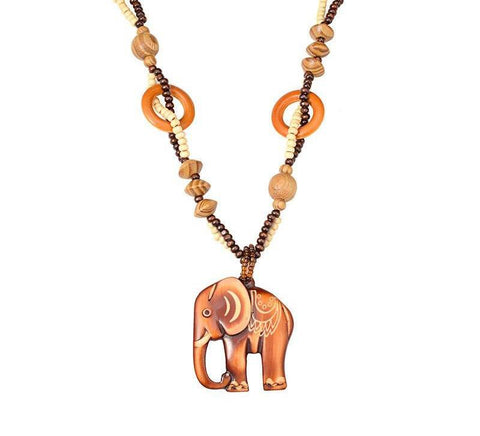 collier elephant bois