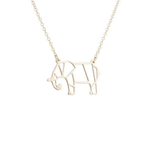 collier elephant origami or