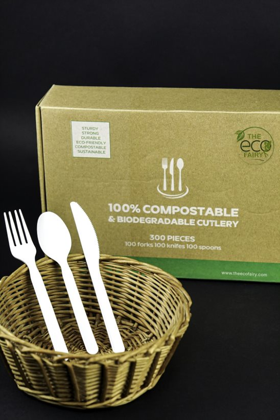 100% Eco-Friendly Compostable Cutlery Set - - 300 pieces (100 Forks | 100 Spoons | 100 Knives)