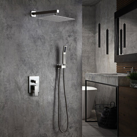 Fontana Showers Flavia Color Changing LED Rainfall Thermostatic Complete Shower System with Rough-in-Valve