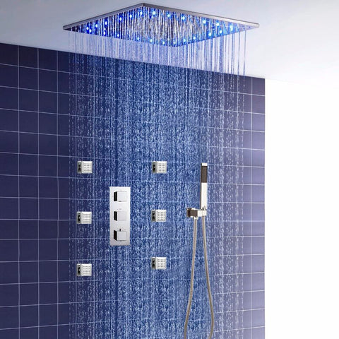 Fontana Showers Rainfall and Mist Thermostatic Complete Shower System with Rough-in Valve