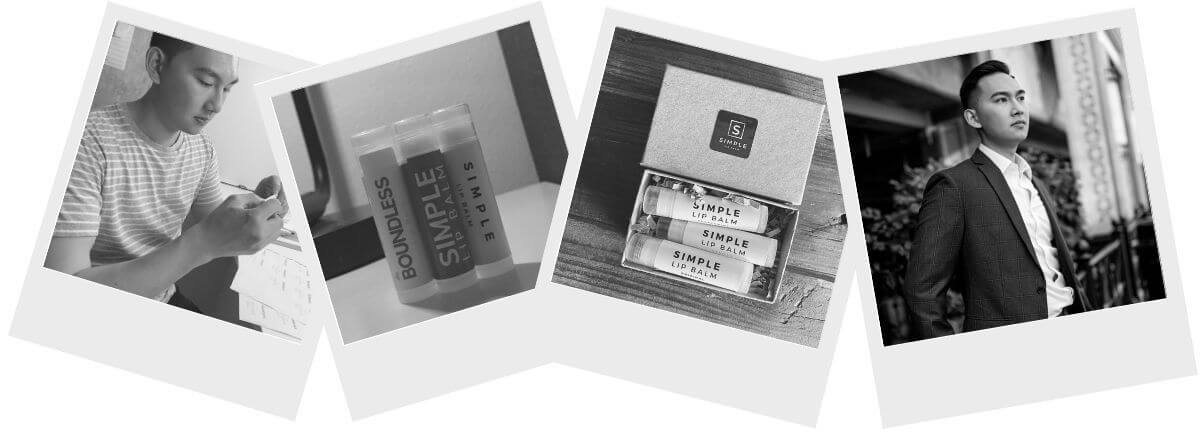 Four greyscale polaroid photos.