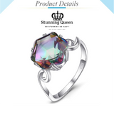 3ct Mystic Rainbow Gemstones Ring in 925 Sterling Silver|StunningQueen.com