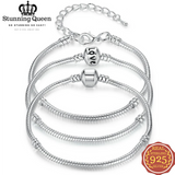 5 Style Silver Color LOVE Snake Chain Bracelet & Bangle in 925 Sterling Silver|StunningQueen.com