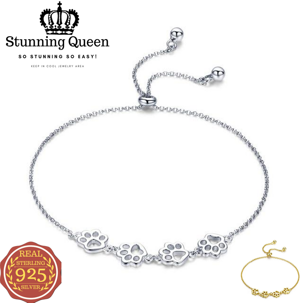 Animal Footprints Chain Bracelet in 925 Sterling Silver|StunningQueen.com