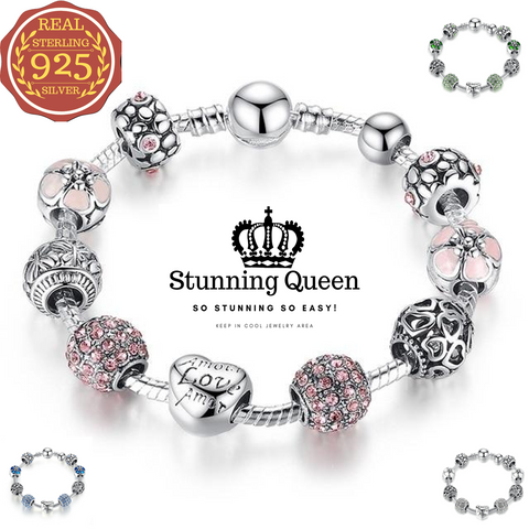 Antique Love and Flower Beads Charm Bracelet & Bangle in 925 Sterling Silver|StunningQueen.com