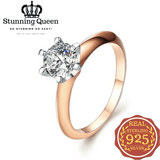 Big Crystal Engagement Ring in 925 Sterling Silver|StunningQueen.com