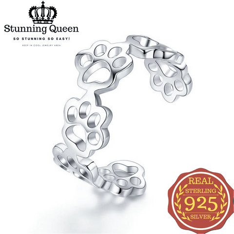 Cat And Dog Footprints Adjustable Ring in 925 Sterling Silver|StunningQueen.com